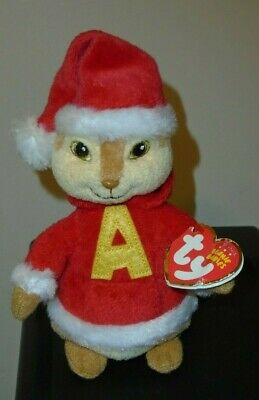 7 Inch ALVIN and the Chipmunks MWMT Ty Beanie Baby ~ ALVIN with Holiday Hat