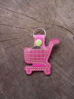 Custom Colors Embroidered Shopping Cart Aldi Quarter Keeper Key Fob, Key Chain