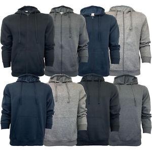 Mens-Sweatshirt-Over-The-Head-Hoodie-Top-Pullover-Zip-Fleece-Fashion-Winter-New