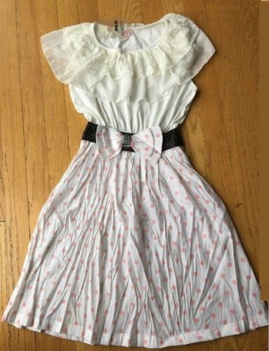 Girl Polka-dot Summer Casual Dresses Children Sleeveless With Belt Cute Dress K8