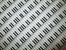 PIANO KEYBOARD MUSIC BLACK WHITE GRAY COTTON FABRIC FQ