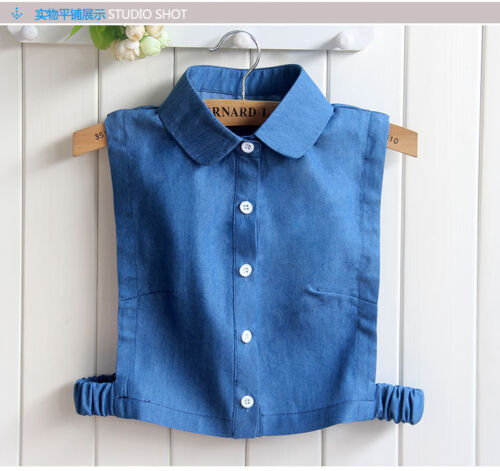 Women Cowboy Detachable Blouse Shirt Cotton Fake False Choker Collar #EAF212