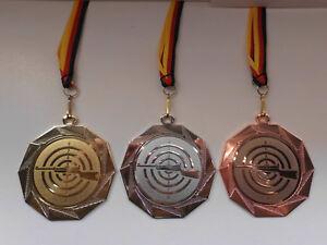 Schützen Schießsport Pokal Medaillen 70mm 3er Set mit Band/&Emblem Pokale e103