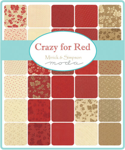 Moda CRAZY FOR RED by Minick /& Simpson Redwork  14796 12 ***Discontinued* 1//2yd