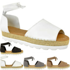 1a0a9fb5d item 2 Womens Ladies Flat Lace Up Sandals Espadrilles Summer Chunky Holiday  Shoes Size -Womens Ladies Flat Lace Up Sandals Espadrilles Summer Chunky  Holiday ...