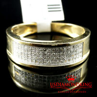 10k Yellow Gold Men's Ladies 4 Row Genuine Diamond 7mm Wedding Band Ring 1/4 ctw