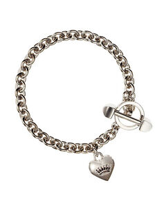 Image Is Loading Authentic Juicy Couture Sliver Medium Puffy Heart Bracelet