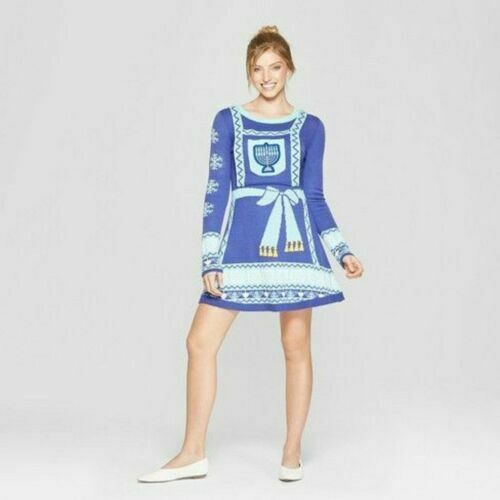 Women/'s Med Ugly Hanukkah Chanukah Sweater Dress Born Famous Free Shipping