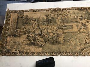 Antique-Vintage-Ladies-In-Garden-Italian-Tapestry-Wall-Hanging