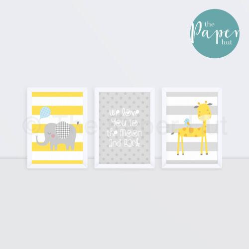 "Unisex Nursery Art Print Yellow /& Grey  5/""x7/"" Three PackJungle Safari"