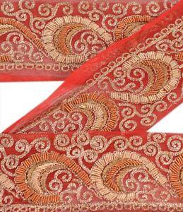 Trim & Edging Good Vintage Sari Border Antique Hand Embroidered Indian Trim Ribbon Peach Lace Trims