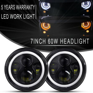 Pair-7inch-Round-LED-Headlight-w-Halo-Angle-Eyes-Fit-Jeep-Wrangler-JK-LJ-TJ