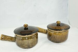 Thai-Celadon-4-1-8-034-One-Handle-Individual-Casserole-w-Lid-Brown-Green-Drip-Lot-2