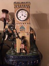 Rarität Antike Seltene Kamin, Tisch Uhr Keramik Kolonialstil Frankreich, Pendule