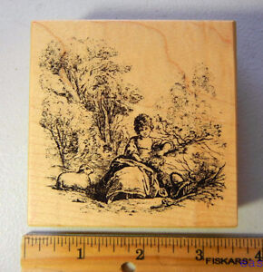 Rubber-Stamp-PSX-Victorian-Lady-in-Meadow-w-Sheep-G-3606-1566