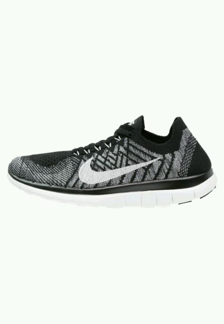 online store ecbb3 c3bf2 Nike Free Flyknit 4.0 Women`s Running Trainers Shoes Black White Grey