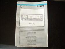 libretto istruzioni del PHILIPS CD 10 ! INTROVABILE ! DA MUSEO !