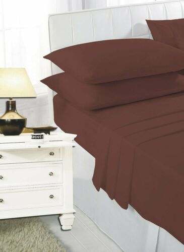 Luxury Plain Dyed Sheet Set Fitted Sheet With Flat Sheet /& Pillow Pair All sizes