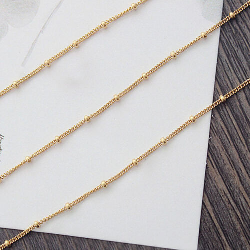 Women Gold Toned Simple Thin Multi Layer Bead Chain Bracelet Anklet Jewelry S
