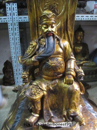 Huge China Bronze Dragon Guangong Guan Yu Sit Tiger Chair Warrior god statue