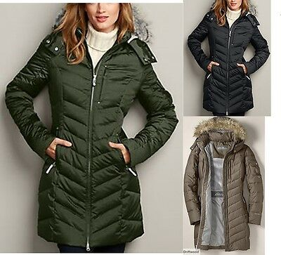 14 NWT Eddie Bauer Womens Down Duffle Coat Parka Jacket 3 Colors Available