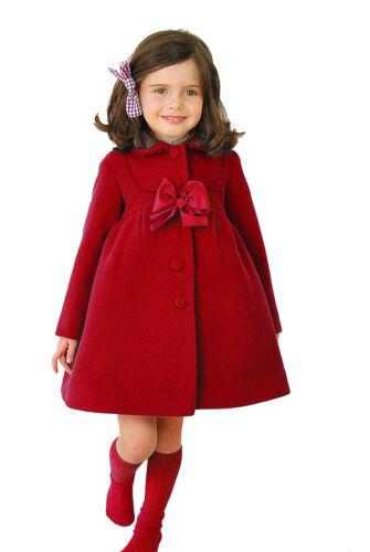 Kids Girls Princess Woolen Trench Coats Warm Outerwear Wind Jackets Swing Dress