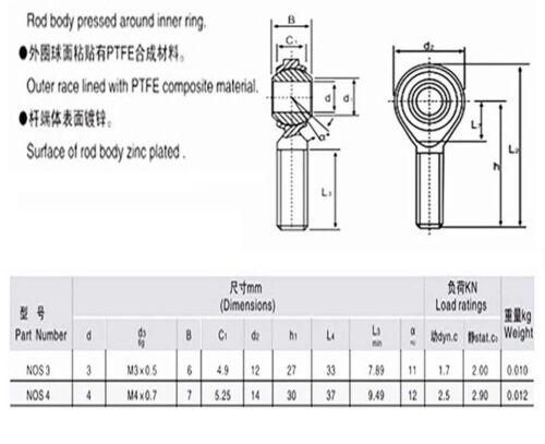 3D Printer M3//M4 Metric Threaded Fish Eye Rod End Joint Bearing SI4T//K SI3T//K