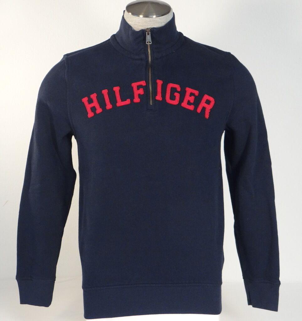 Tommy Hilfiger Signature Navy Blau Half Zip Pullover Sweatshirt 1/2 Zip  Herren NWT