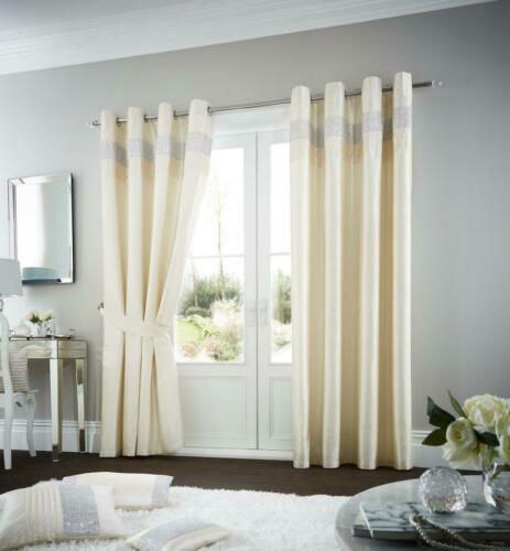 Oxy Diamante Curtain Ring Top Faux Silk Fully Lined Eyelet Silver Pair Curtains