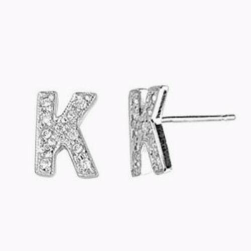 Swaroski Diamante Bling Inglés Alfabeto Letra Inicial A-z Zarcillos Pendientes
