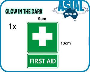 Glow in the Dark FIRST AID UV Vinyl Sign Sticker Safety Box Kit Workplace