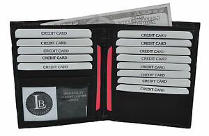GENUINE-LEATHER-HIPSTER-WALLET-BLACK-NEW-13-CREDIT-CARD-SLOTS-GREAT-GIFT-IDEA