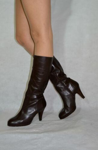 5 Stiefel Damen Echtem Kniehohe Aus Zip Braune Größe Leder Half Slim 6 Kalb wP8nXNOk0