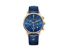 Maurice Lacroix Eliros Chronograph Quartz watch, Gold 24k, Blue, 40mm, Leather