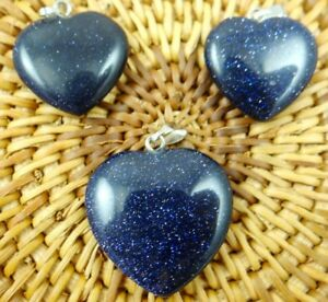 3PC-Blue-sand-stone-Heart-shaped-pendant-Gem-necklace-earring-Jewelry-Making
