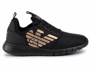 Emporio-Armani-X8X007-XCC02-EA7-Mesh-Sneaker-Uomo-Scarpe-da-ginnastica-Black-Gold