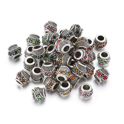 50x Barrel Antique Silver Plated Metal Alloy Rhinestone European Beads 10~11x9mm