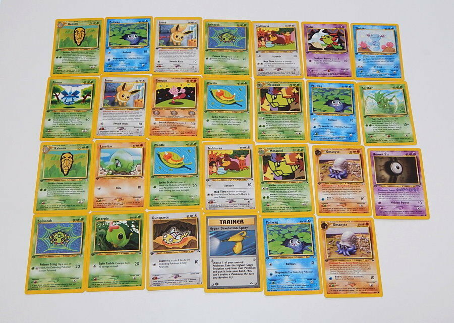 Lot of 27 Neo Discovery First Edition Played With Pokemon Cards R9845