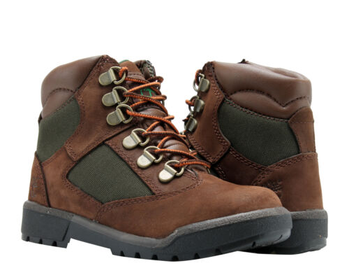 Timberland 6-Inch Field Boot Brown Nubuck//Olive Youth Little Kids Boots 44792