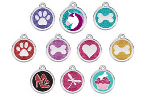 Red-Dingo-GLITTER-Engraved-Dog-Cat-ID-Tags-Discs-Paw-Heart-Unicorn