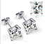 Men & Woman Clear CZ 6 mm Square Czech Crystal Stone Hip Hop Bling stud Earrings