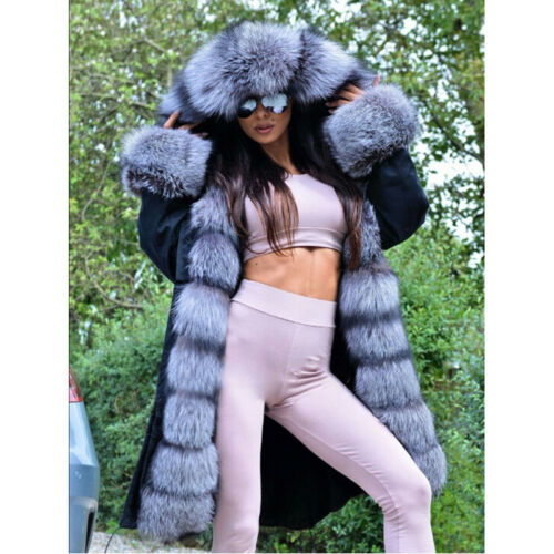 Liner Fur Fox Collar Hooded Women Real Jacket Silver Vulpes Overcoat Rabbit wUPI0A