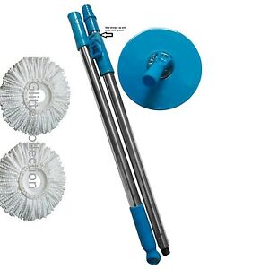 Winberg (R)360 degree Magic Mop rotating Rod steel rod with 2 Refill combo Blue