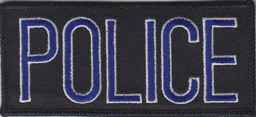 """POLICE Royal Blue /& Gold on Black Front Panel Patch 2/"""" X 4.25/"""""""
