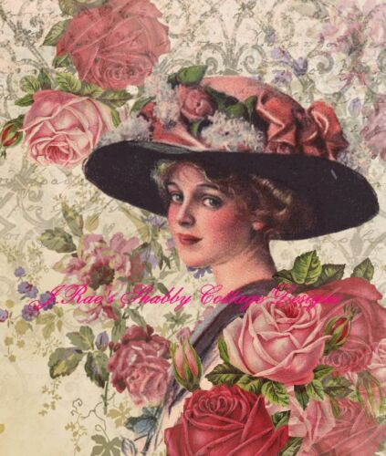 Victorian Lady Altered Art Lovely 5x7 Fabric Block