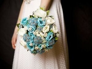 Bejewelled turquoise & white wedding brooch bouquet