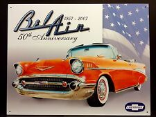 1957 Chevy Bel Air TIN SIGN Chevrolet  Red Metal Poster Antique Car Wall Decor