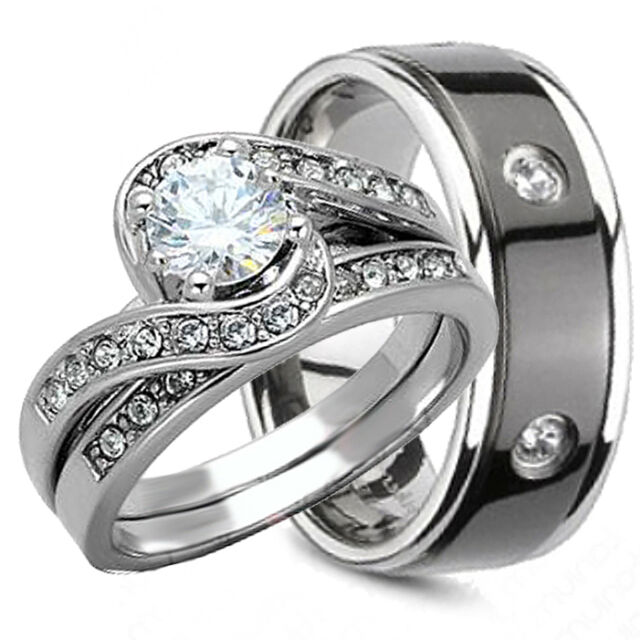 3PCS HIS AND HERS TITANIUM 925 STERLING SILVER WEDDING BRIDAL MATCHING RINGS SET
