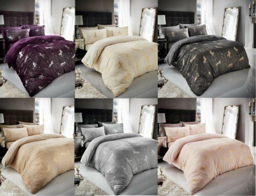 Teddy Unicorn Star Foil Fleece Duvet Cover Cosy Bedding Pillow case Grey Pink