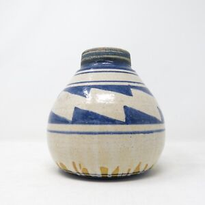Artisan-Studio-Pottery-Signed-Gary-Hart-Southwestern-Indigo-Blue-Vase-Pot